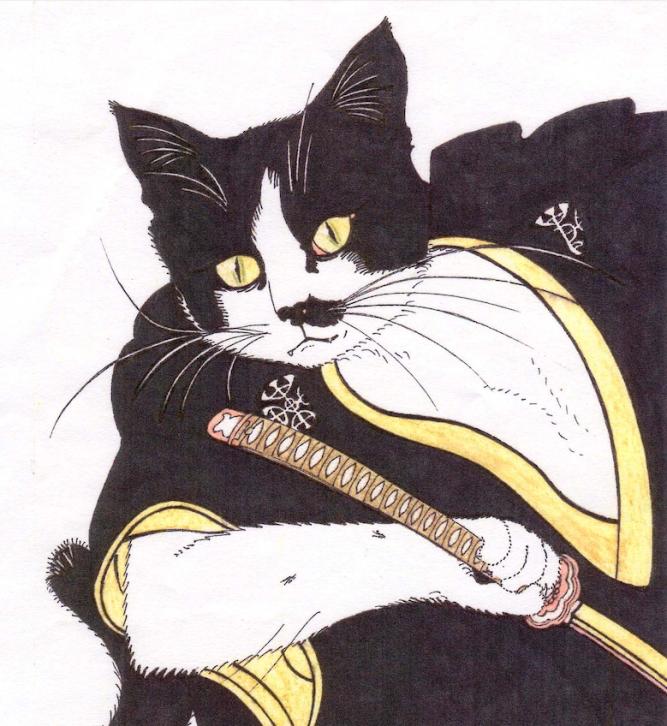 portrait du chat Batchan en samourai façon estampe japonaise